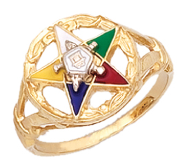 Silver Vermeil Gold Masonic Freemason Eastern Star Ring