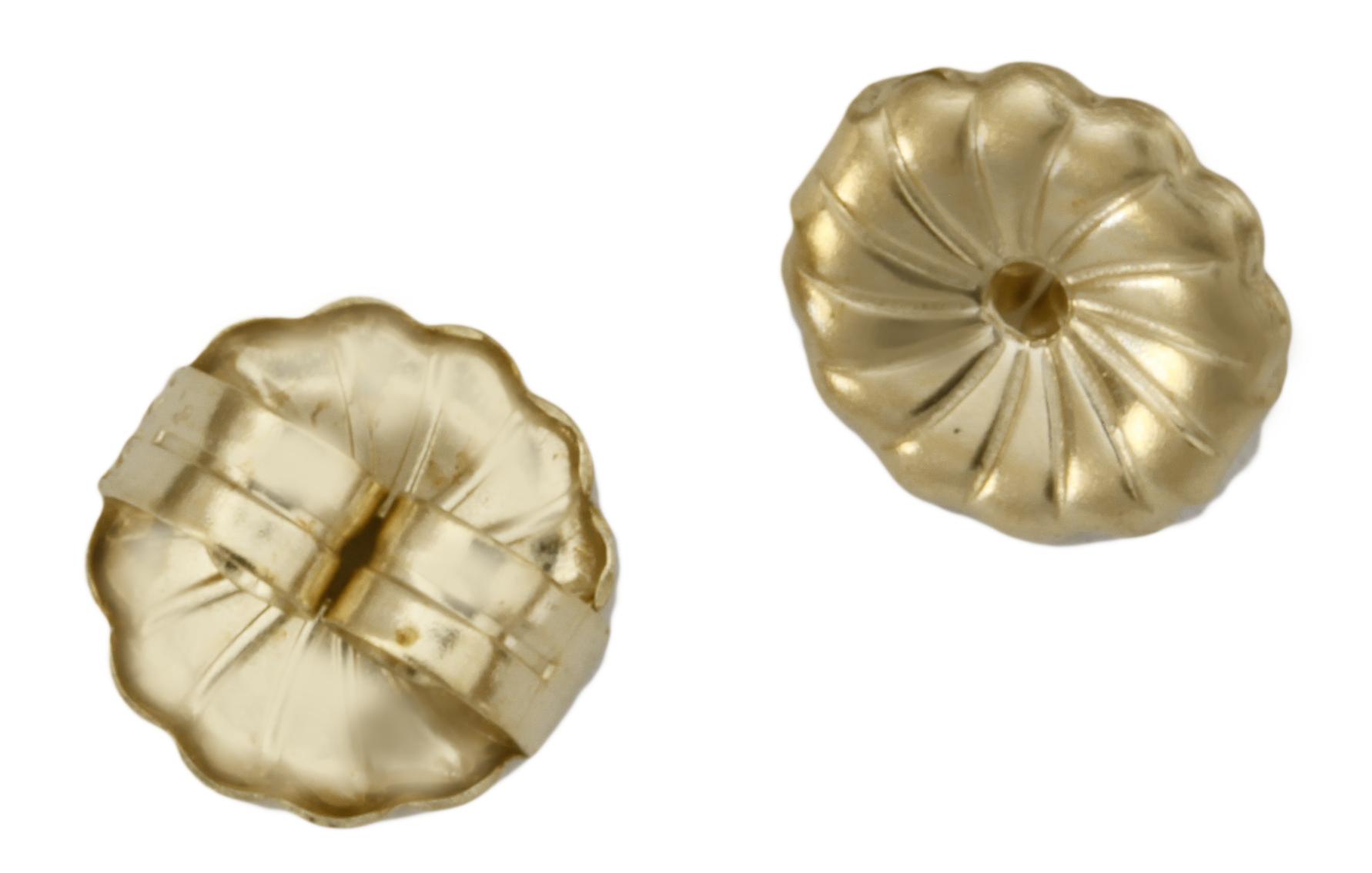 new 7mm genuine 14k gold push on butterfly earring