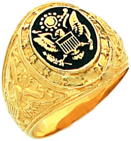 New-Mens-10-or-14k-Yellow-Gold-United-States-US-Army-Military-Ring
