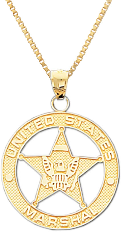 new 14k yellow gold us marshal deputy officer badge