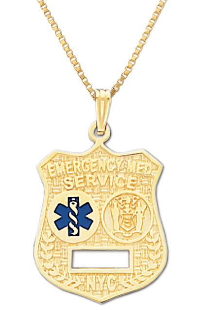 10k or 14k yellow gold emt resuce badge pendant charm