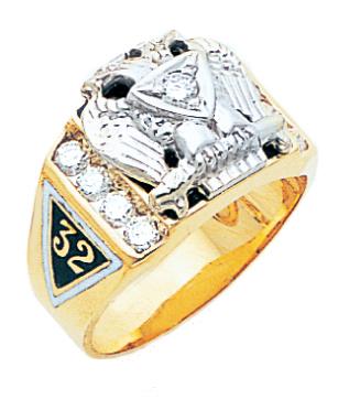 14K or 10K White or Yellow Gold Masonic Freemason Mason Scottish Rite