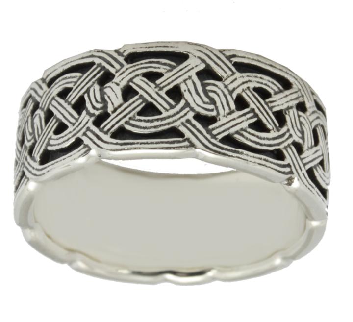 Men 39 S Sterling Silver Or 10K 14K Gold Irish Celtic Weave Knot Wedding Rin