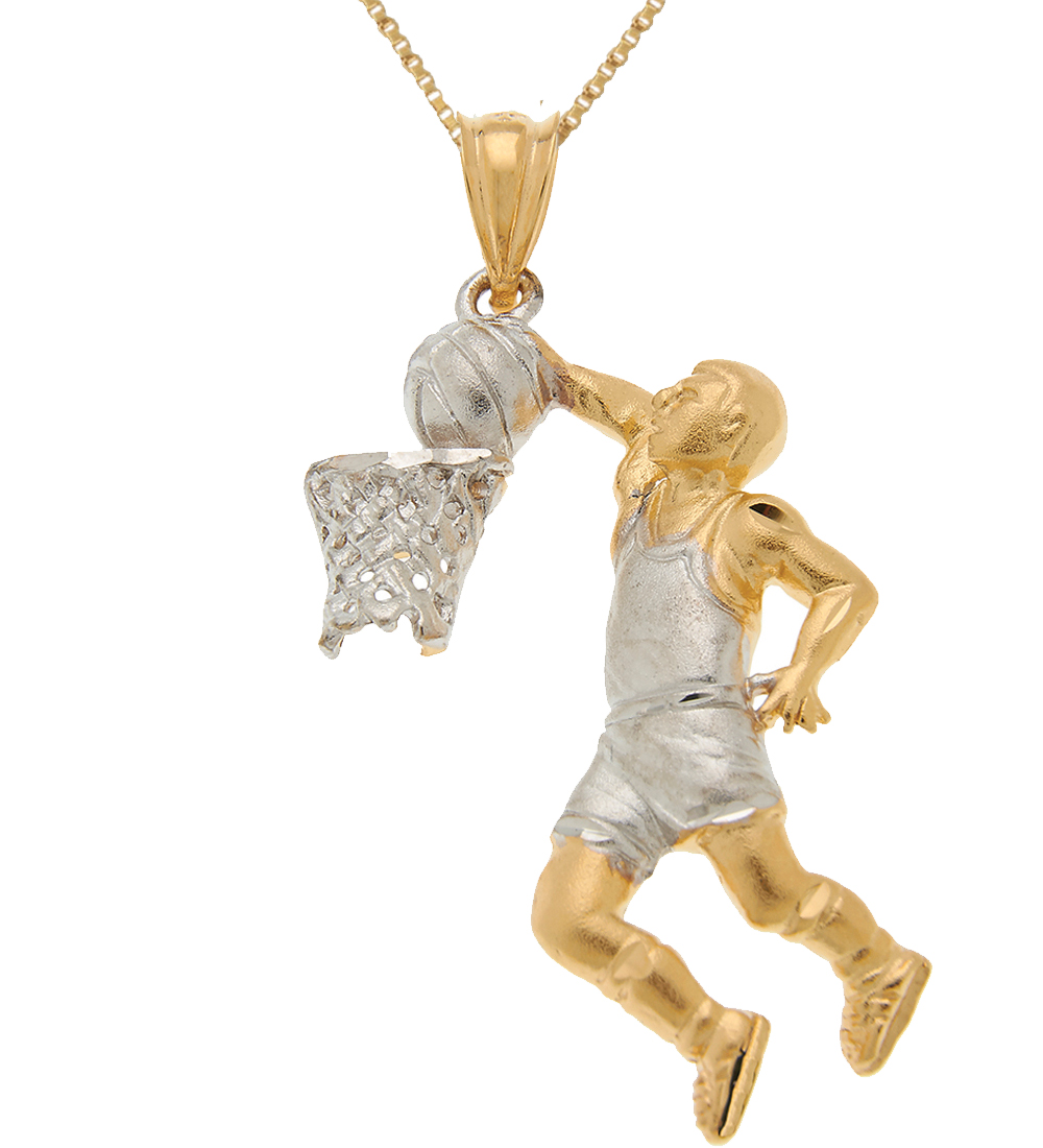 sterling silver gold plated basketball player charm sports